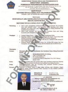 Surat Penunjukan Ahli Madya K3