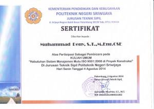 Sertifikat Kuliah Umum ISO 9001
