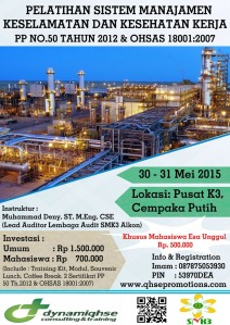 Pelatihan SMK3 PP 50 2012 & OHSAS 18001 Jakarta