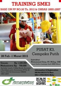 Pelatihan SMK3 PP 50 & OHSAS 18001 Feb 2015