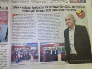 Liputan Pelatihan SMK3 di Koran Lokal Palembang
